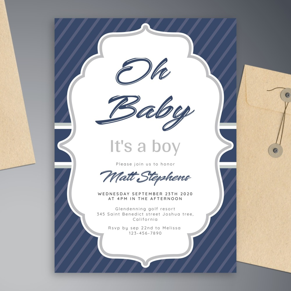 Customize and Download Vintage Blue Baby Shower Invitation