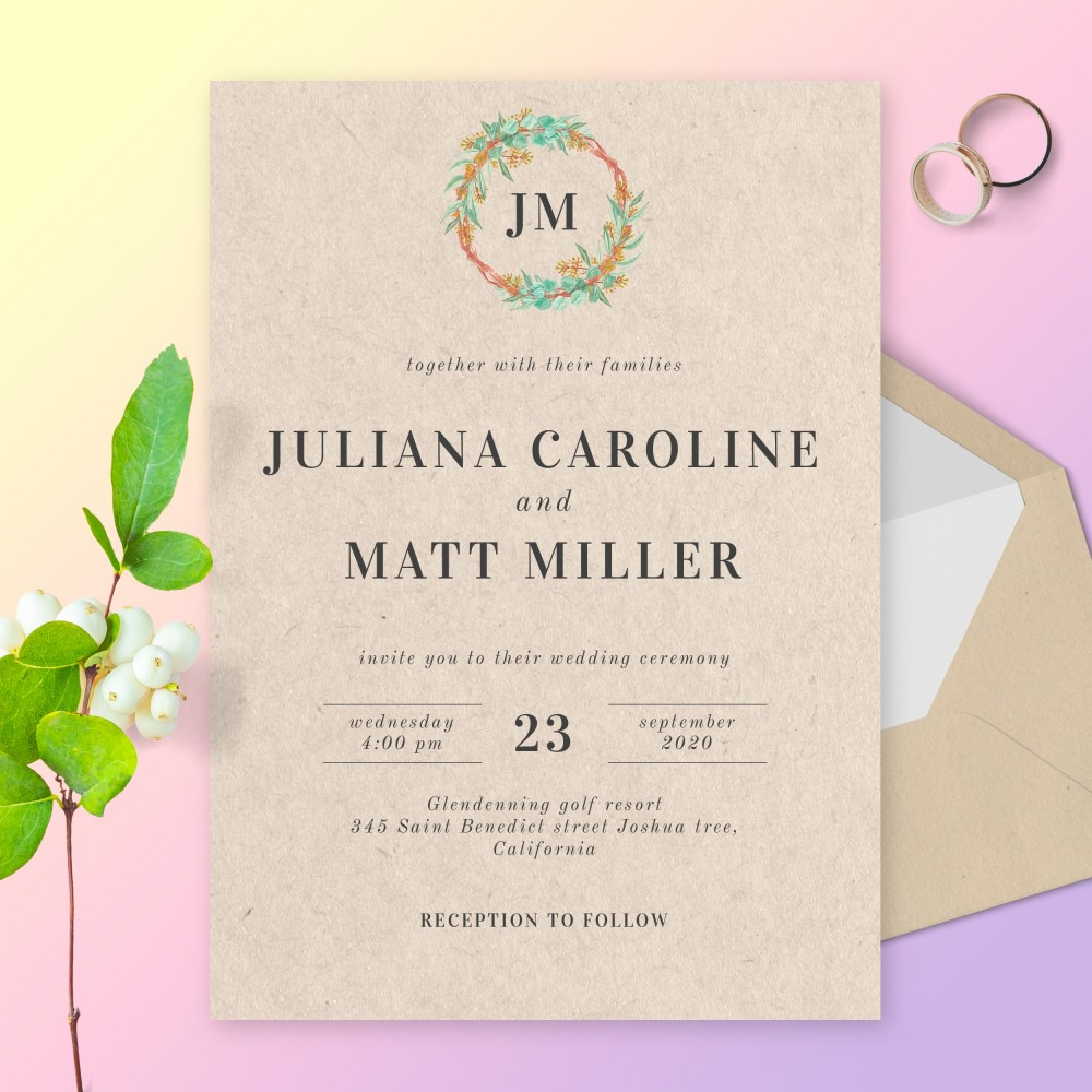 Customize and Download Vintage Boho Green and Gold Wreath Wedding Invitation
