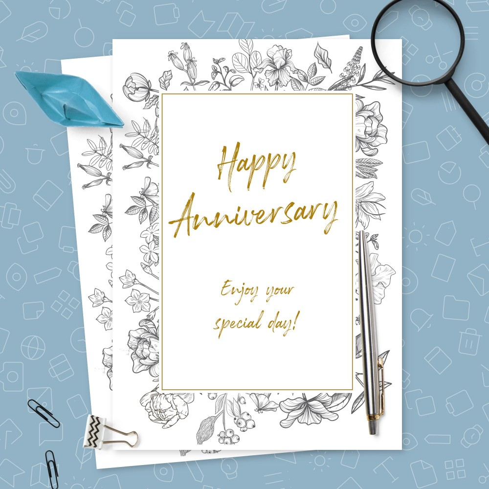 Customize and Download Vintage Graceful Flowers Anniversary Card
