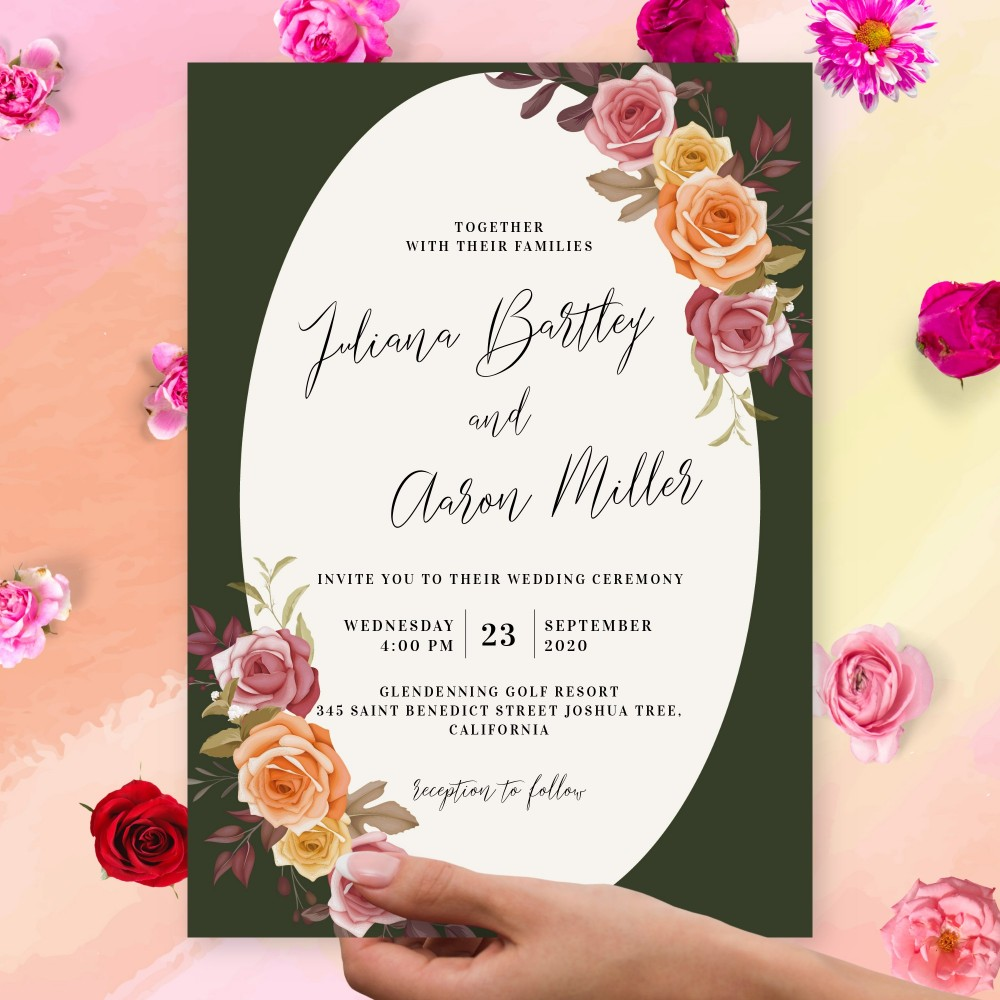 Customize and Download Vintage Roses Fall Wedding Invitation