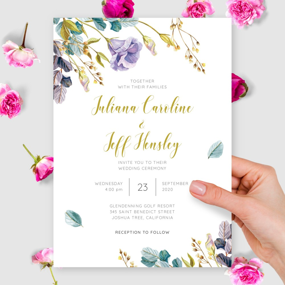 Customize and Download Violet and Gold Flowers Wedding Invitation