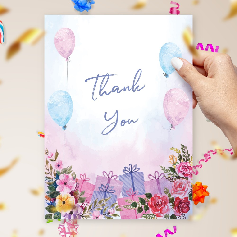 Customize and Download Watercolor Flowers and Balloons Birthday Thank You Card