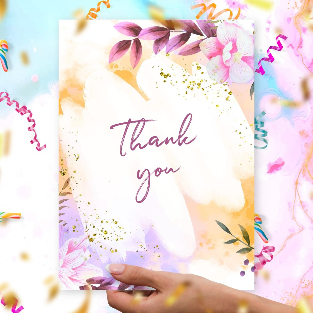 Customize and Download Watercolor Orchid Thank You Card