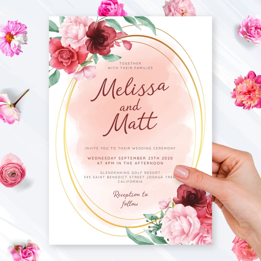Customize and Download Watercolor Roses and Gold Geometric Wedding Invitation