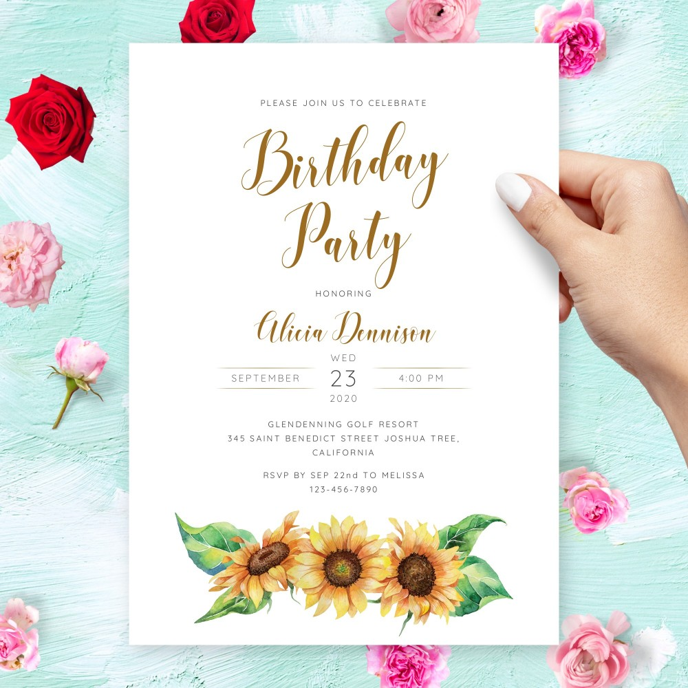 Customize and Download Watercolor Sunflower Birthday Invitation