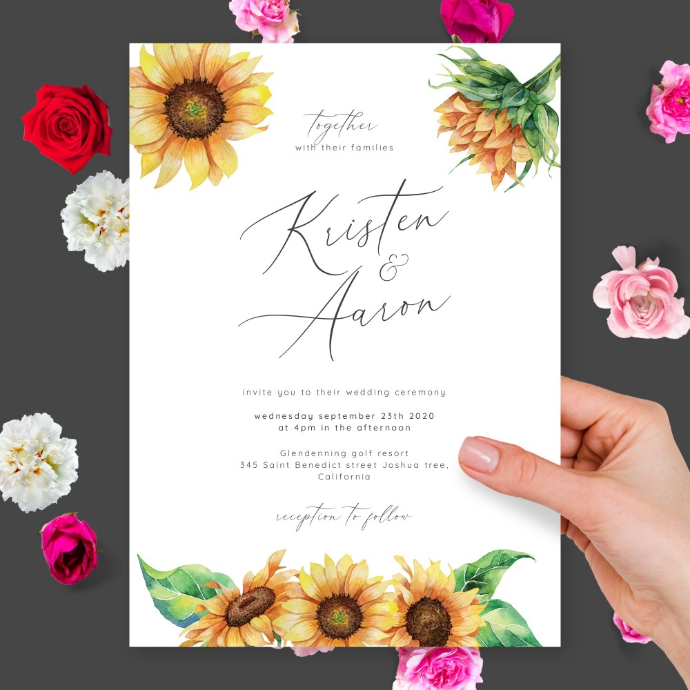 Customize and Download Watercolor Sunflowers Elegant Calligraphy Wedding Invitation