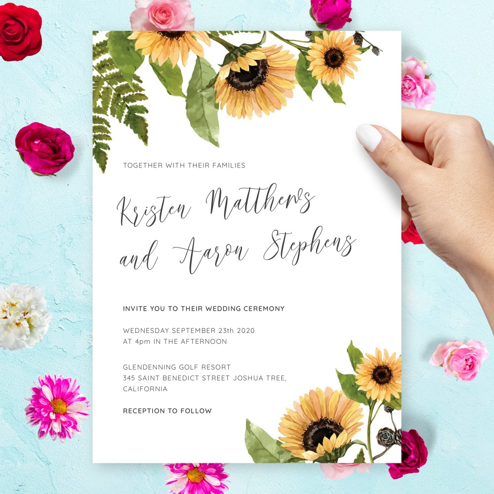 Customize and Download Watercolor Sunflowers Rustic Wedding Invitation