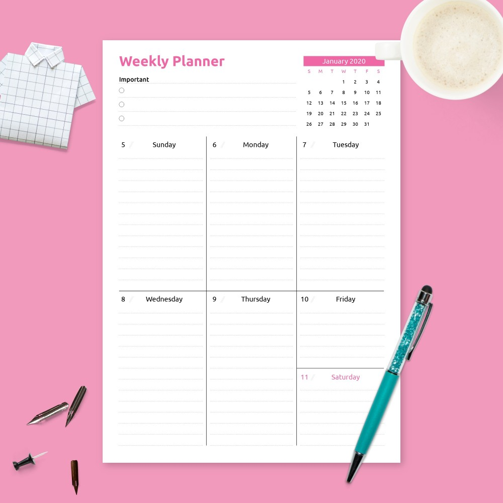 Download Printable Weekly Appointment Planner Template