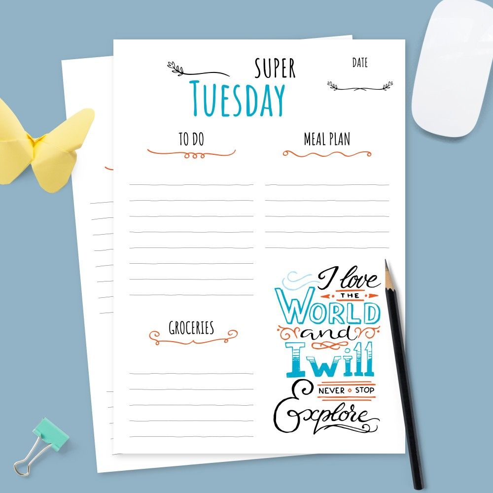 Download Printable Weekly To Do and Meal Plan Template