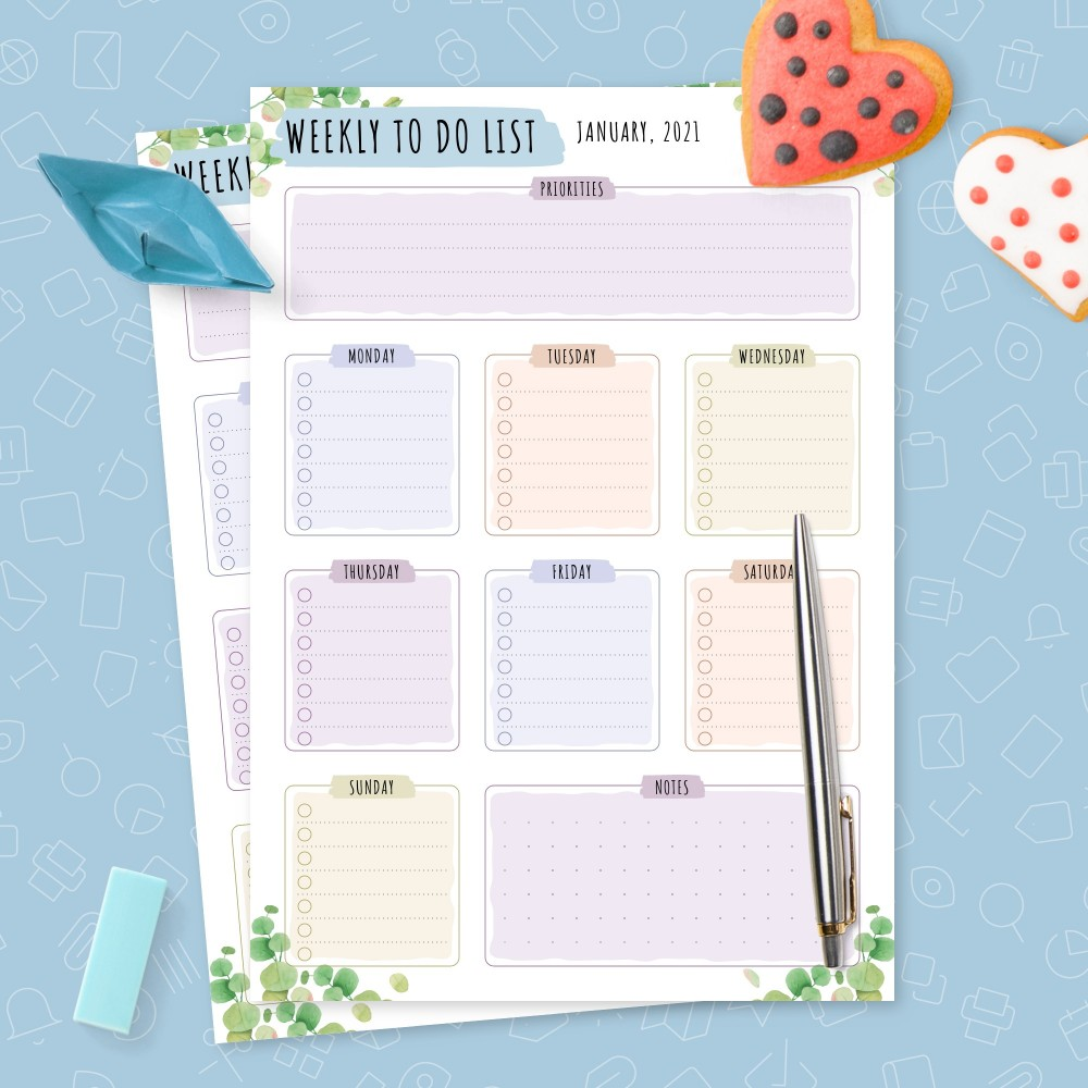Download Printable Weekly To Do List - Eucalyptus Greenery Template