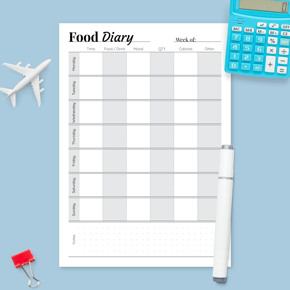 Download Printable Weekly Food Diary Template