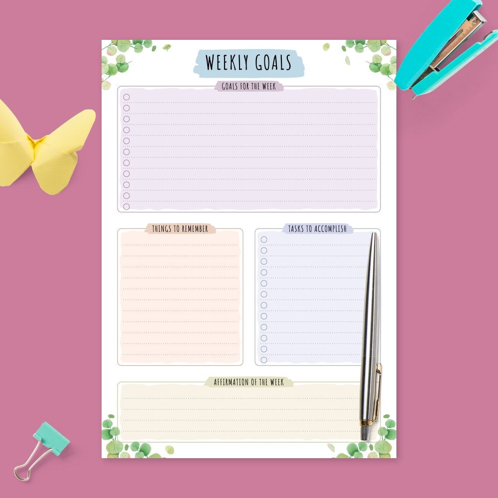 Download Printable Weekly Goal Setting - Botanical Design Template