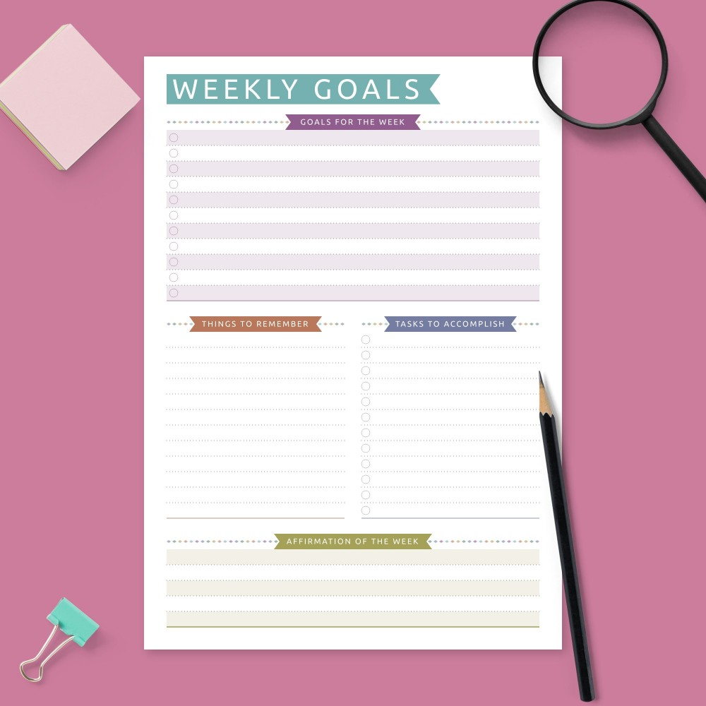 Download Printable Weekly Goal Setting - Colored Design Template