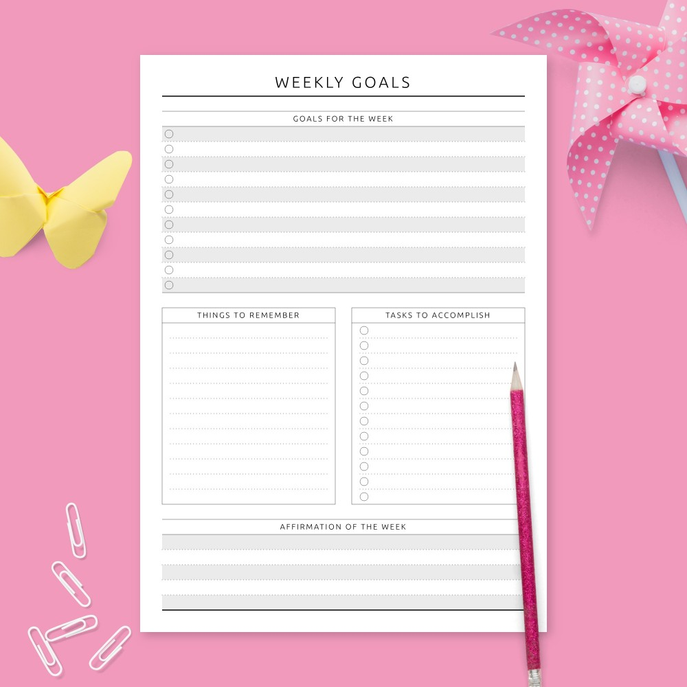 Download Printable Weekly Goal Setting - Formal Design Template