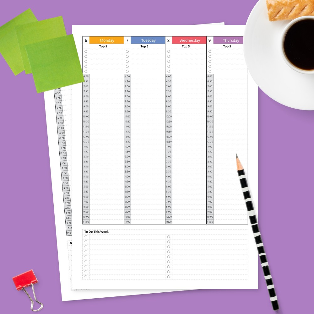 Download Printable Weekly Hourly Schedule Dated Template