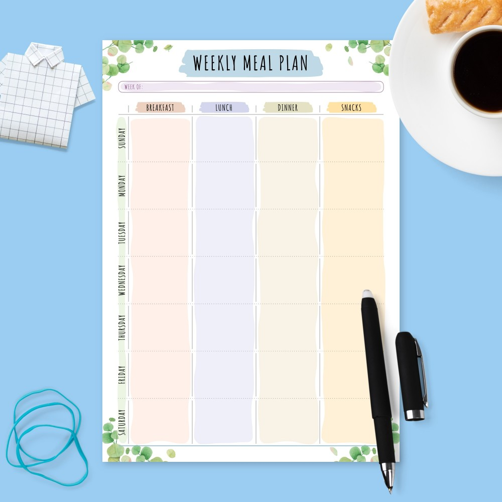 Download Printable Weekly Meal Planner - Botanical Template