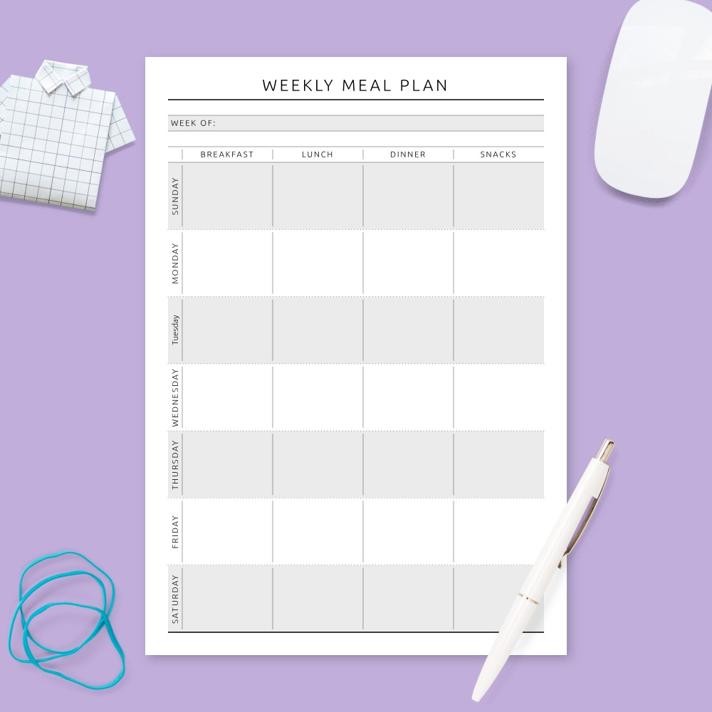 Download Printable Weekly Meal Planner - Formal Template