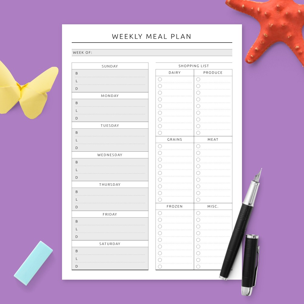 Download Printable Weekly Menu Planner & Grocery List - Formal Template