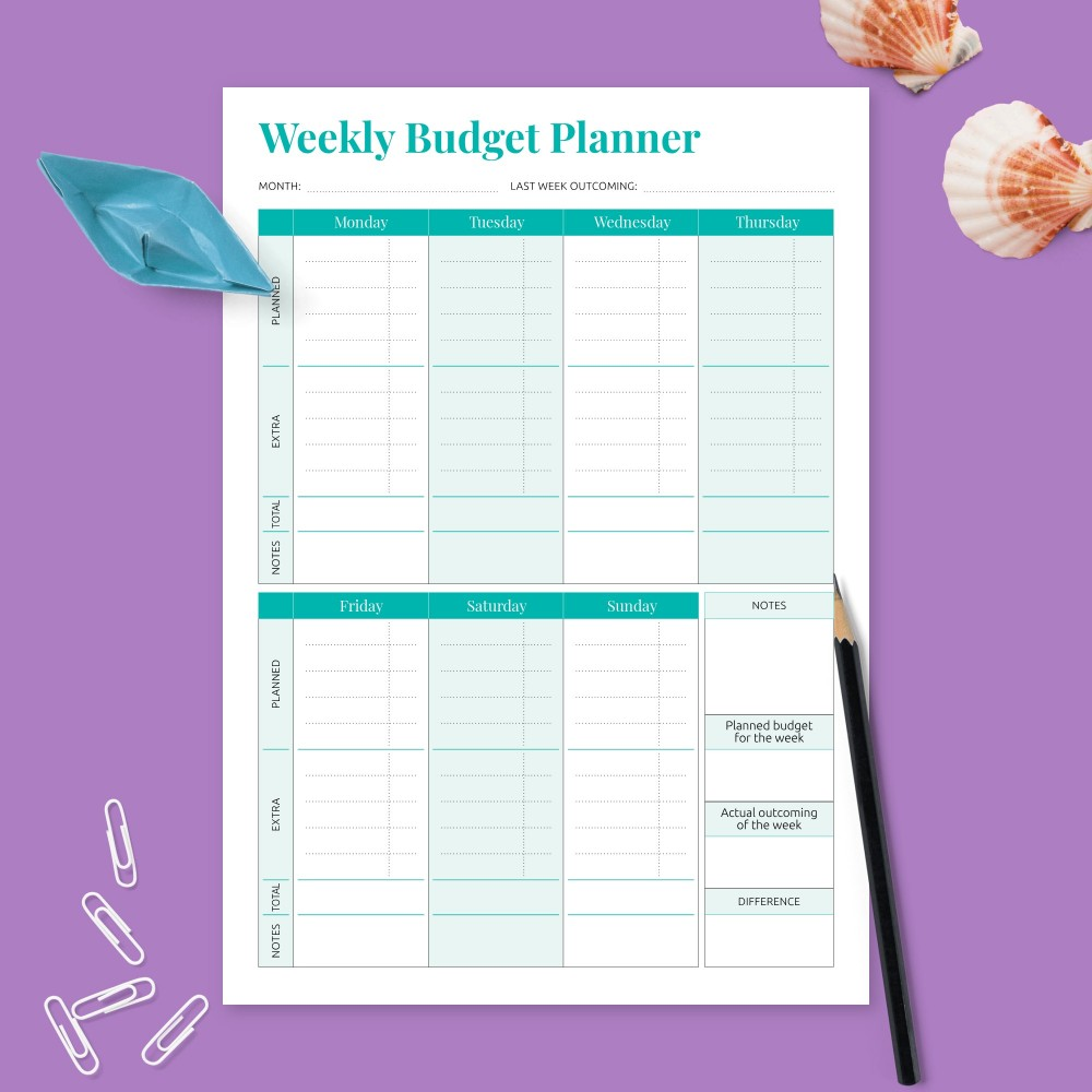 Download Printable Weekly Money Expense Planner Template
