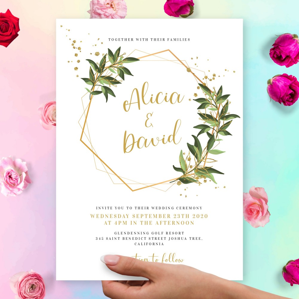 Customize and Download Willow Gold Geometric Wedding Invitation