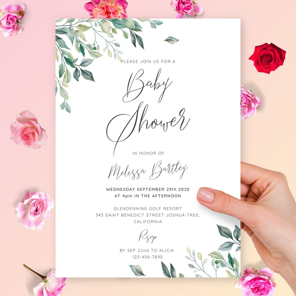 Customize and Download Willow Greenery Baby Shower Invitation