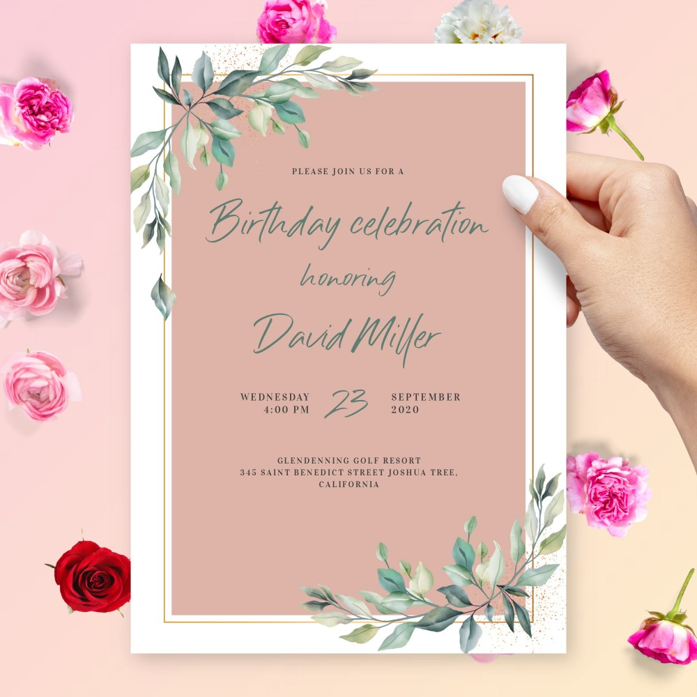 Customize and Download Willow Greenery Blush Birthday Invitation