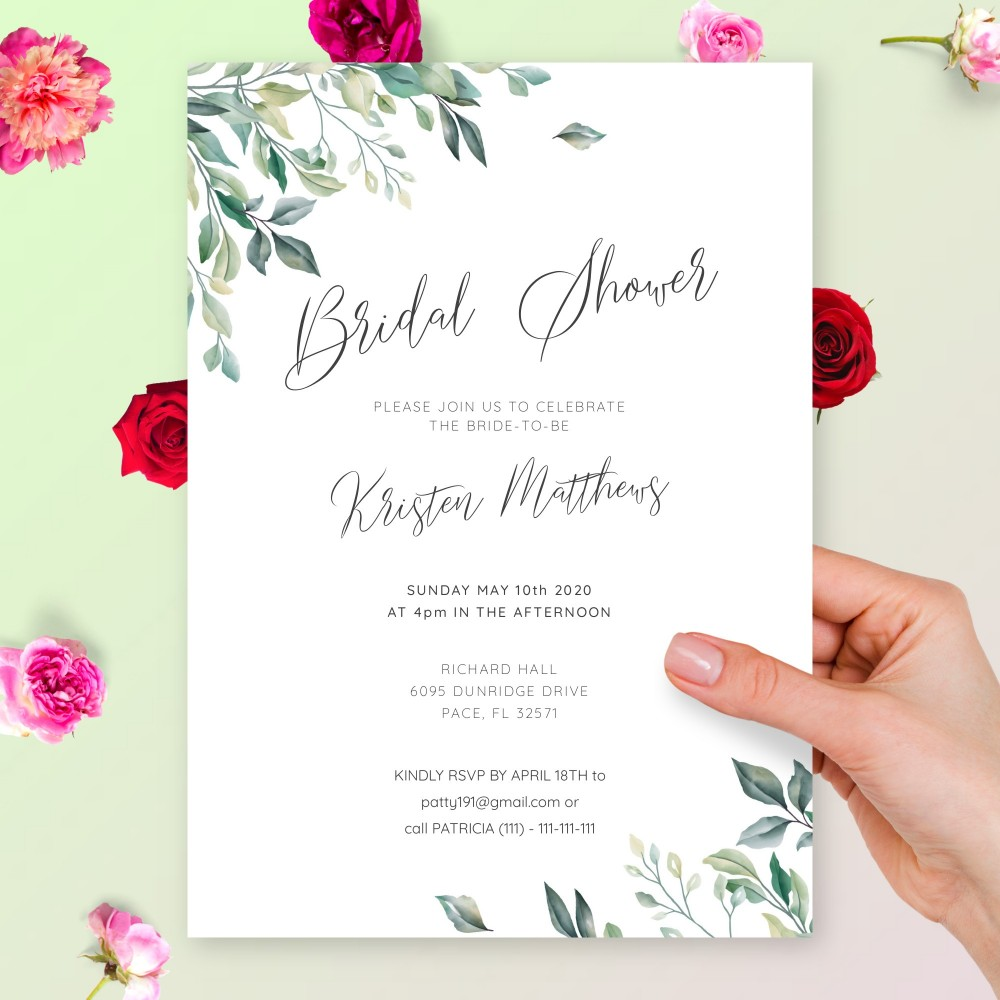 Customize and Download Willow Greenery Bridal Shower Invitation