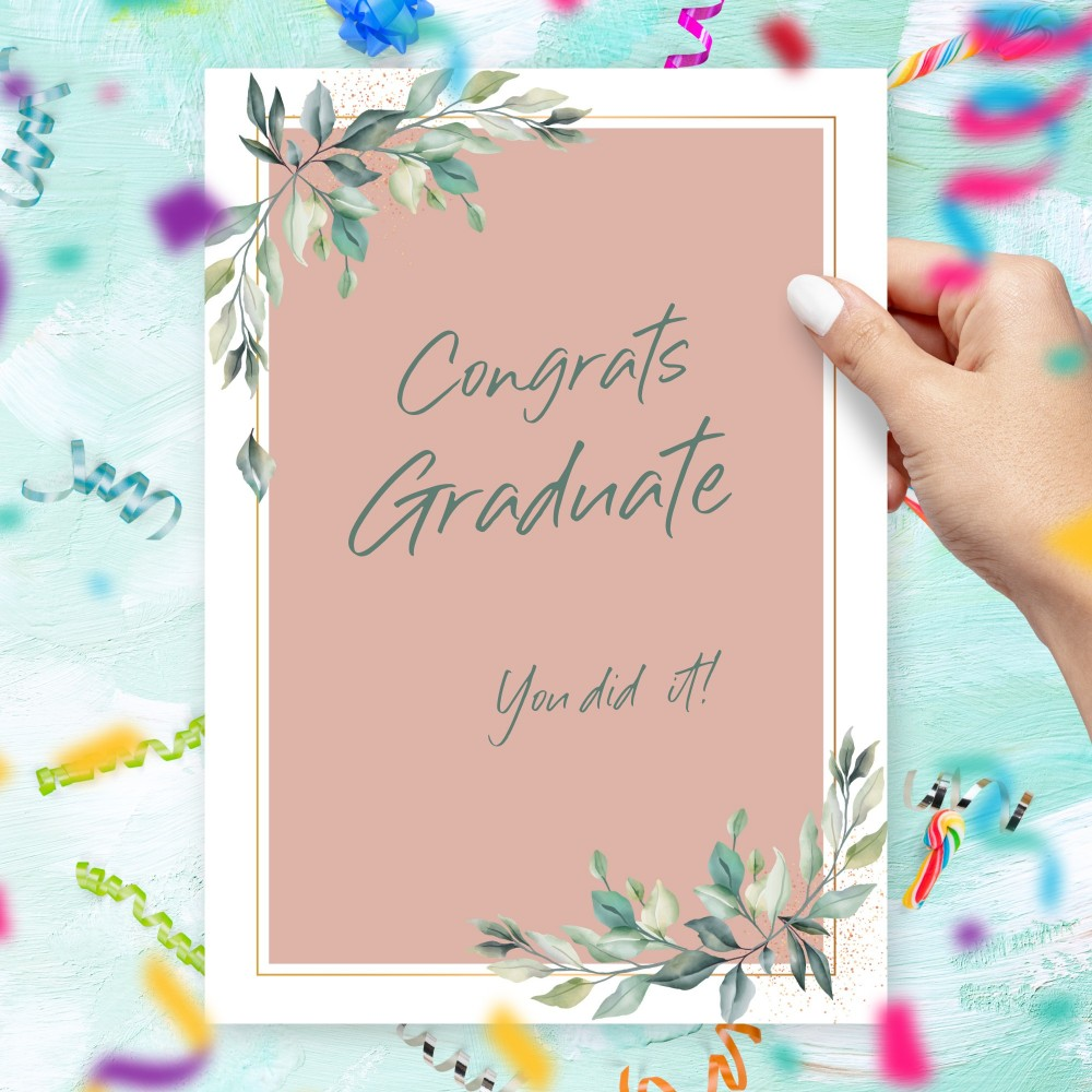 Customize and Download Willow Greenery Pink Graduation Card