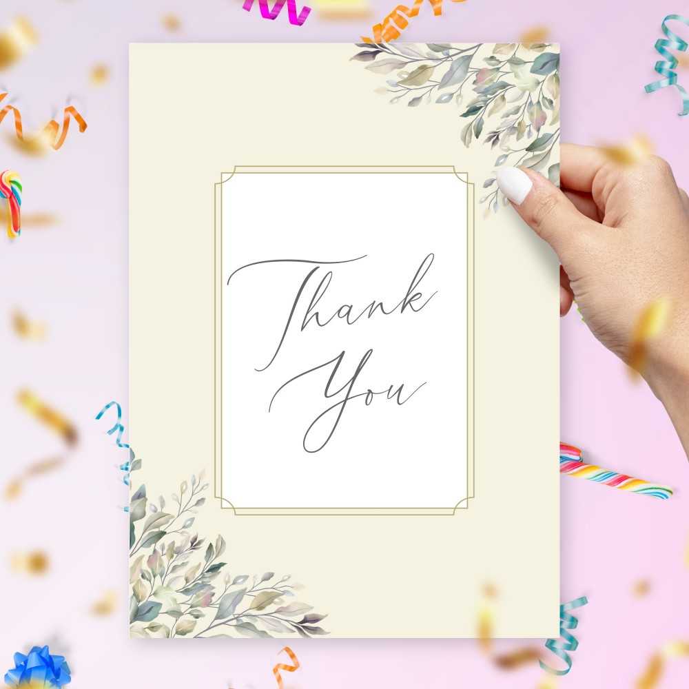 Customize and Download Willow Greenery Thank You Card