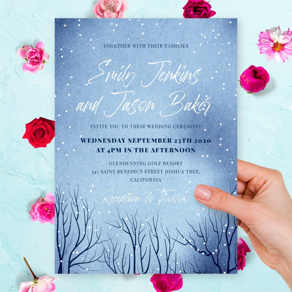 Customize and Download Winter Woodland Wedding Invitation