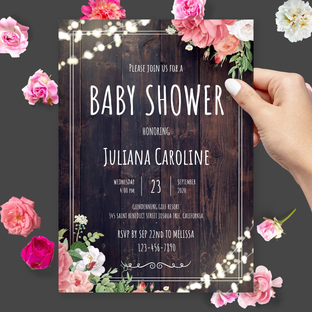 Customize and Download Wooden Barn Baby Shower Invitation
