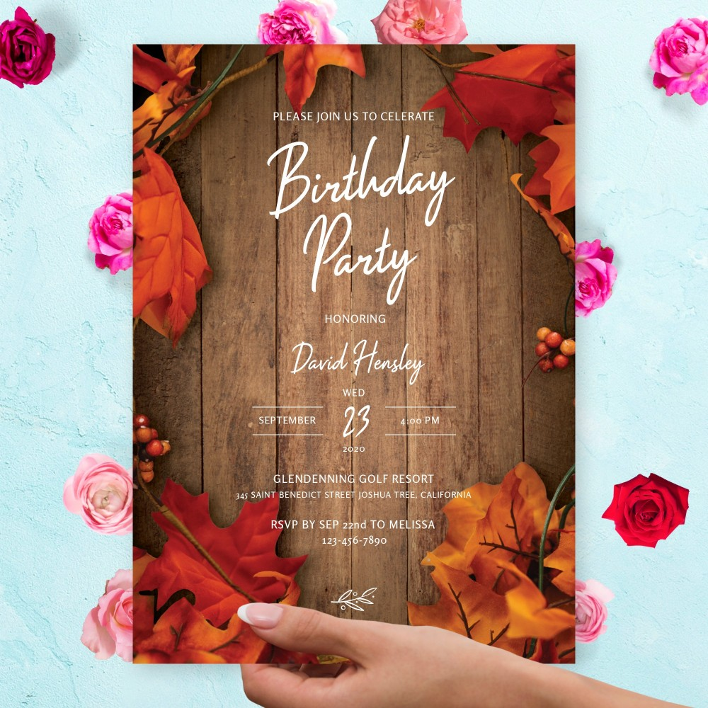 Customize and Download Wooden Barn Fall Leaves Birthday Invitation