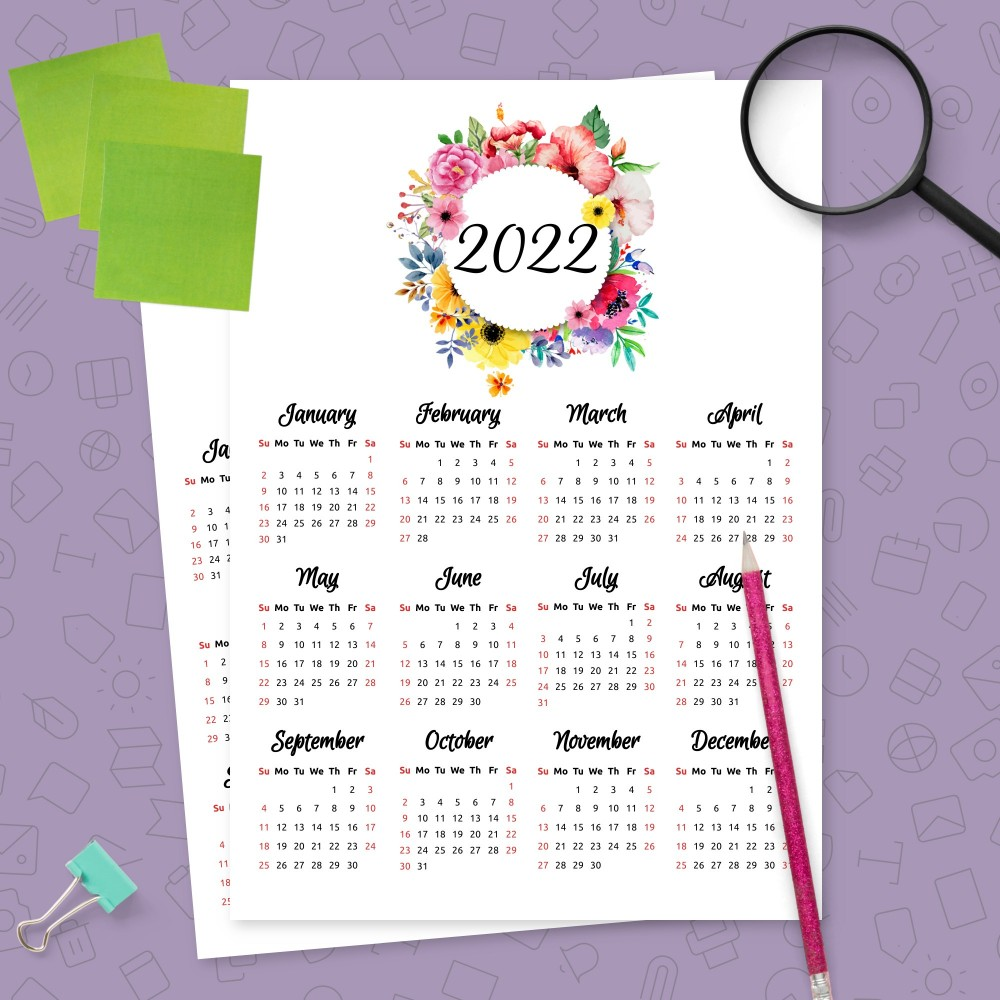 Download Printable Yearly Calendar Floral Design Template