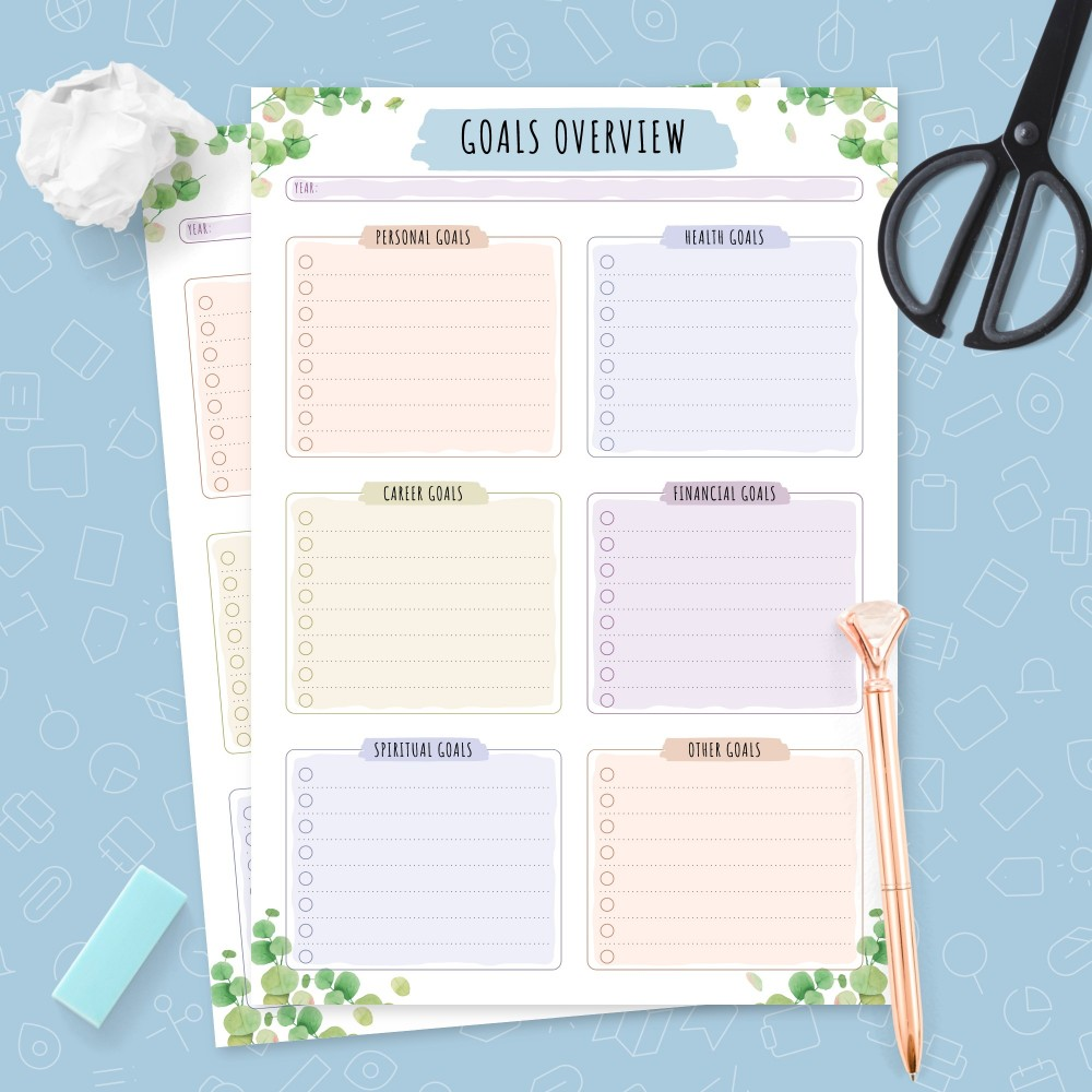 Download Printable Yearly Goals Overview - Botanical Design Template