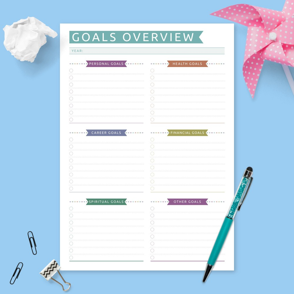 Download Printable Yearly Goals Overview - Colored Design Template