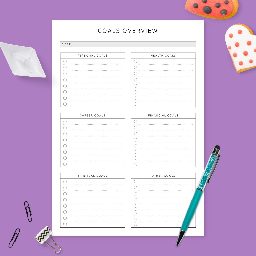 Download Printable Yearly Goals Overview - Formal Design Template