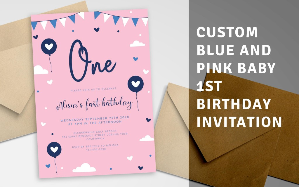 Custom Blue and Pink Baby 1st Birthday Invitation