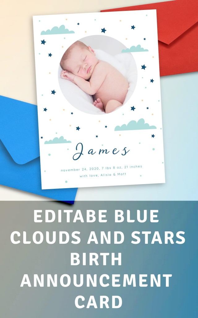 Get Blue Clouds and Stars Birth Announcement Card