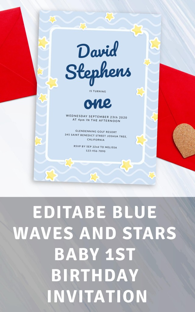 Get Blue Waves and Stars Baby 1st Birthday Invitation