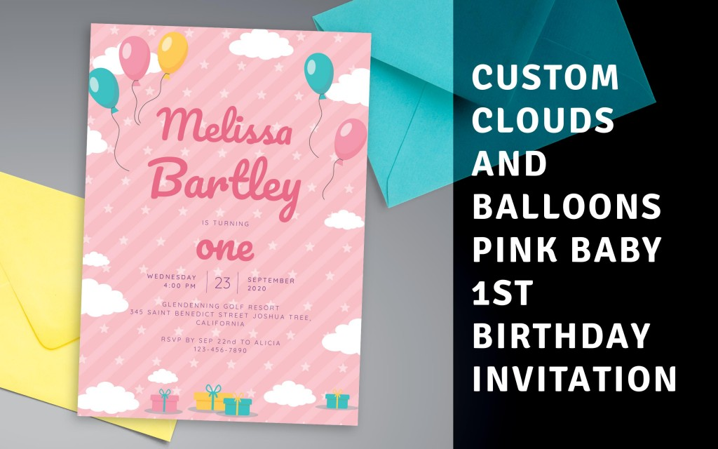 Custom Clouds and Balloons Pink Baby 1st Birthday Invitation