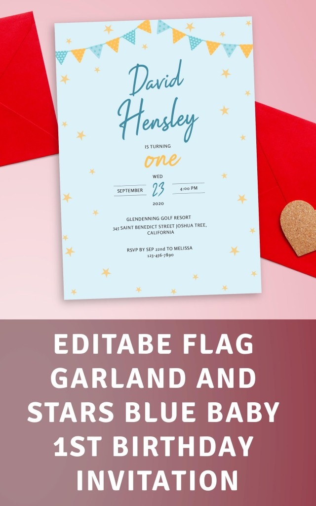 Get Flag Garland and Stars Blue Baby 1st Birthday Invitation