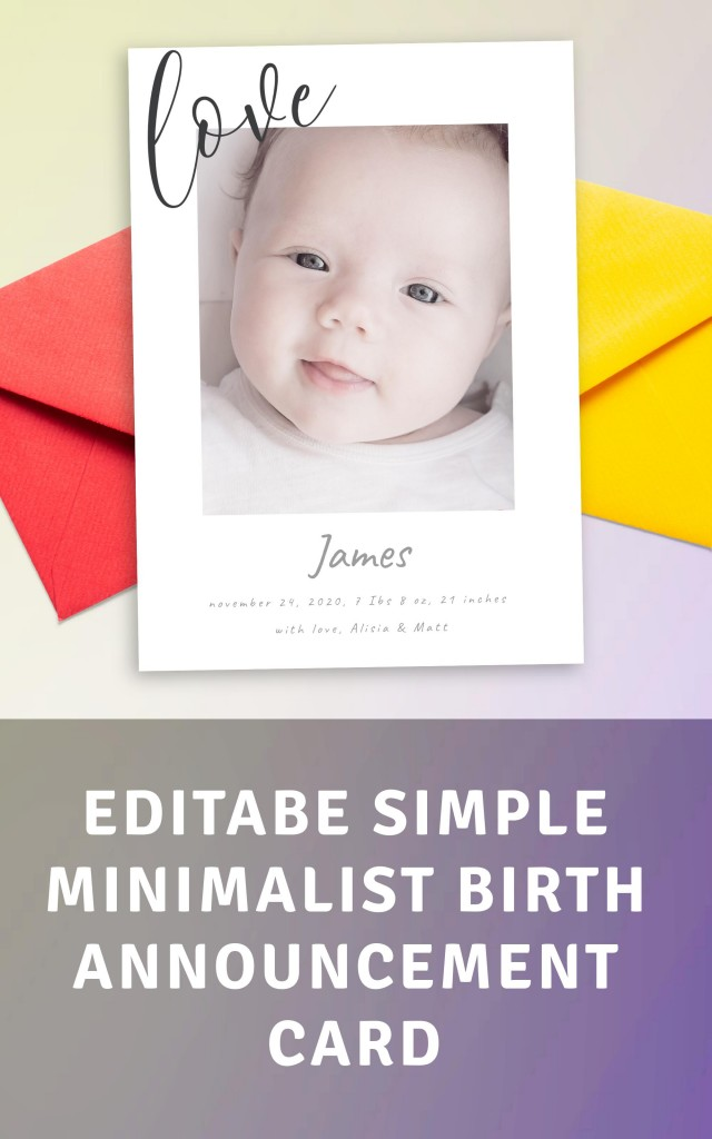 Get Simple Minimalist Birth Announcement Card