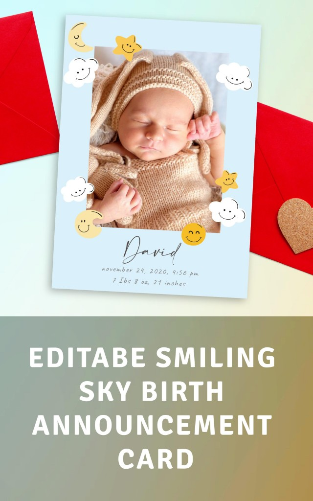 Get Smiling Sky Birth Announcement Card